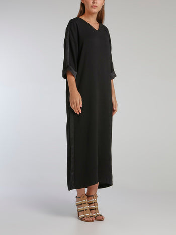 Virginie Black Crepe Satin Midi Dress