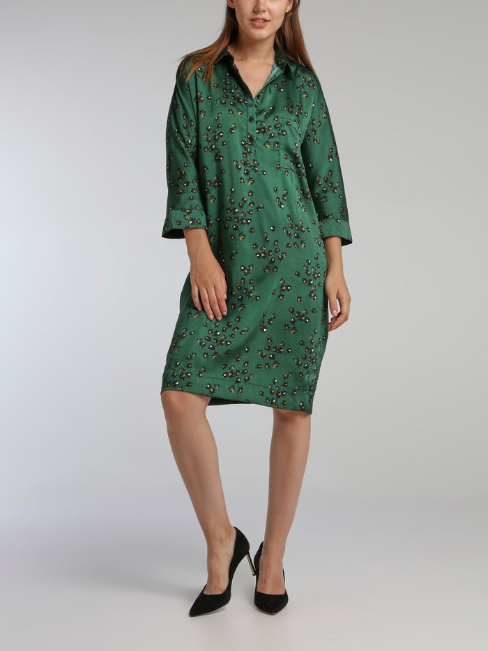 Vora Green Printed Shirt Dress