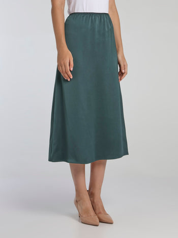 Teal High-Waist Column Midi Skirt
