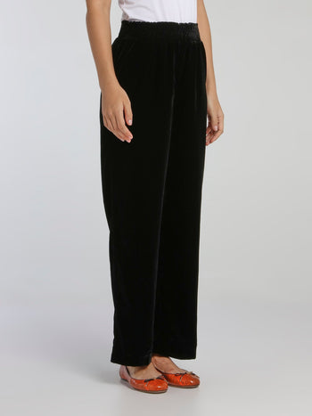 Wally Black Velvet Fluid Pants