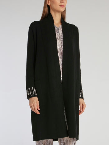 Black Crystal Studded Cuff Cardigan