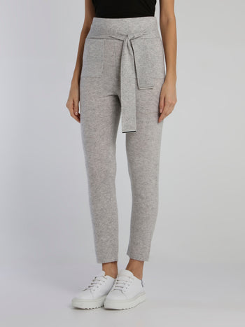 Babo Grey Tie Front Knit Pants