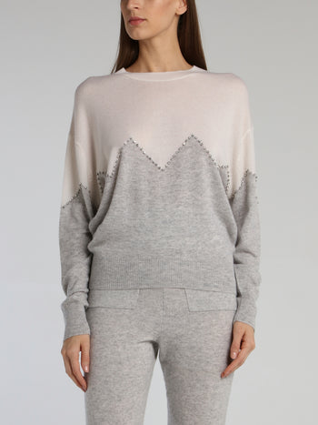 Barbara Two-Tone Strass Detail Jumper