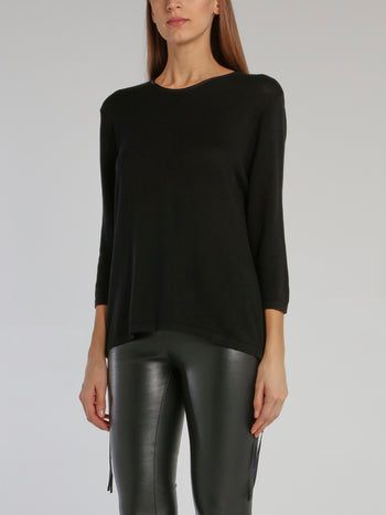 Black Leather Panel Pullover