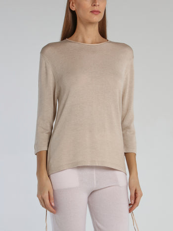 Beige Leather Panel Pullover