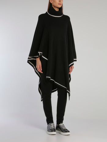 Black Ribbed Cowl Neck Poncho