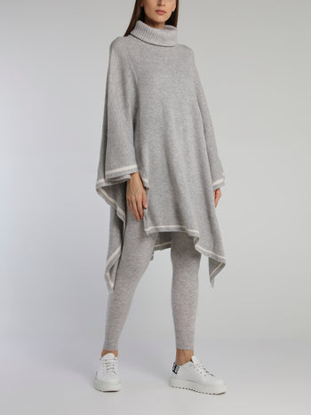 Grey Ribbed Cowl Neck Poncho