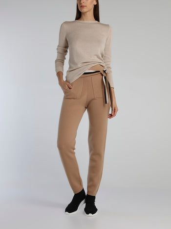 Berlin Beige Crewneck Basic Sweater