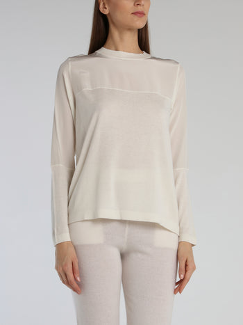 White Knit Panel Crewneck Top