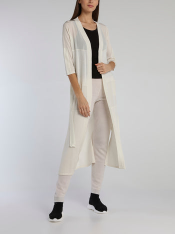 White Tie Front Knit Cardigan
