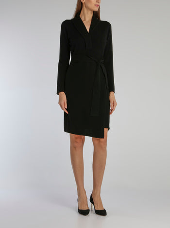 Black Tie Front Robe Dress