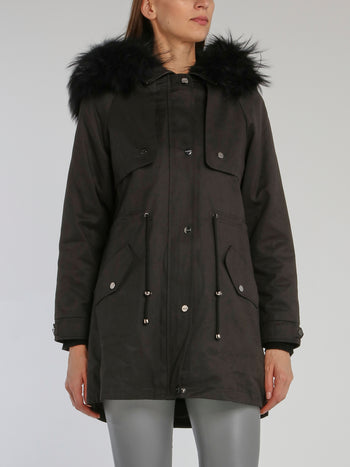 Cristal Black Fur Hood Technical Parka