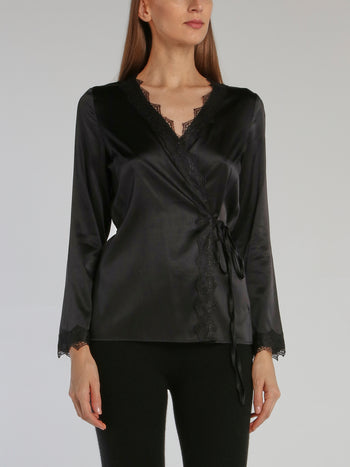 Black Lace Trim Wrap Top