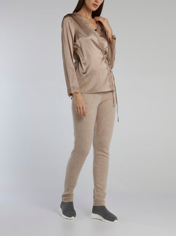 Brown Lace Trim Wrap Top