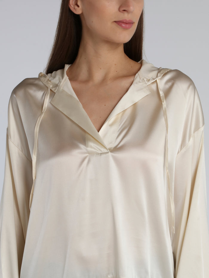 White Hooded Silk Top