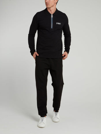 Black Zip Up Long Sleeve Polo Shirt