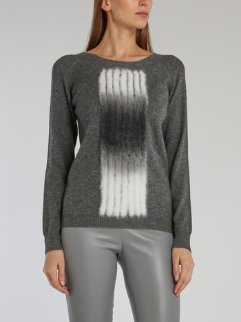 Marty Grey Fur Plastron Sweater