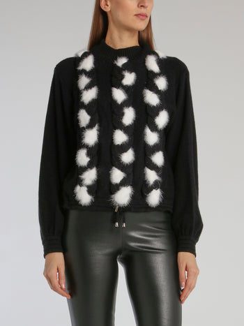 Black Fur Detail Ribbed Jumper