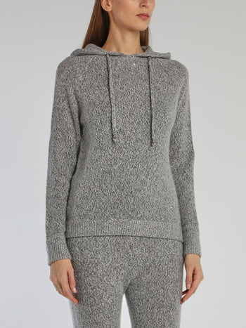 Paola Grey Knitted Hoodie Sweater
