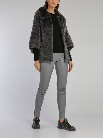 Grey Stretch Leather Leggings