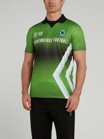 Green Sports Geometric Polo Shirt