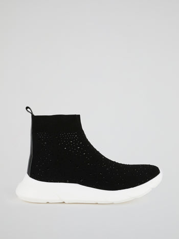 Black Multi-Stud Sock Runner Sneakers