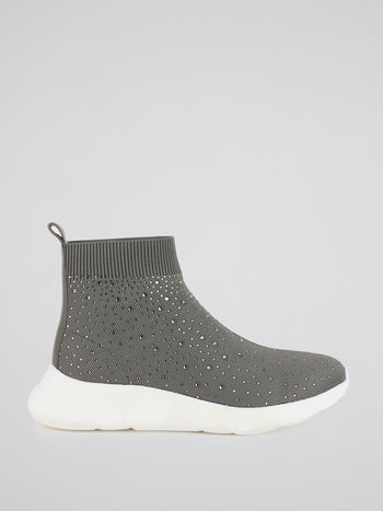 Grey Multi-Stud Sock Runner Sneakers