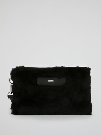 Black Wool Skin Pouch