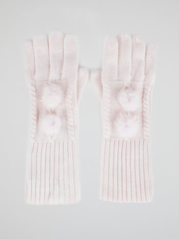 Pink Mink Fur Pom Pom Gloves