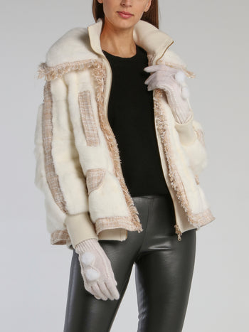 White Mink Fur Pom Pom Gloves