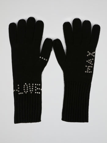 Black Strass Embellished Gloves