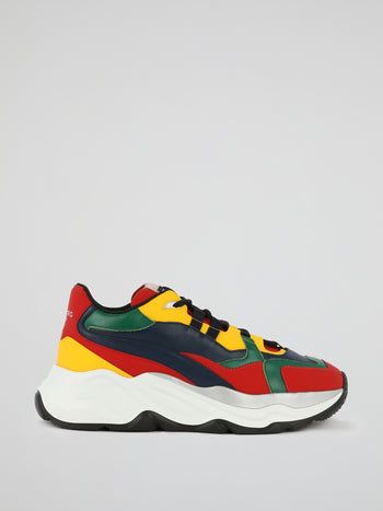 Multicolour Lace Up Leather Sneakers