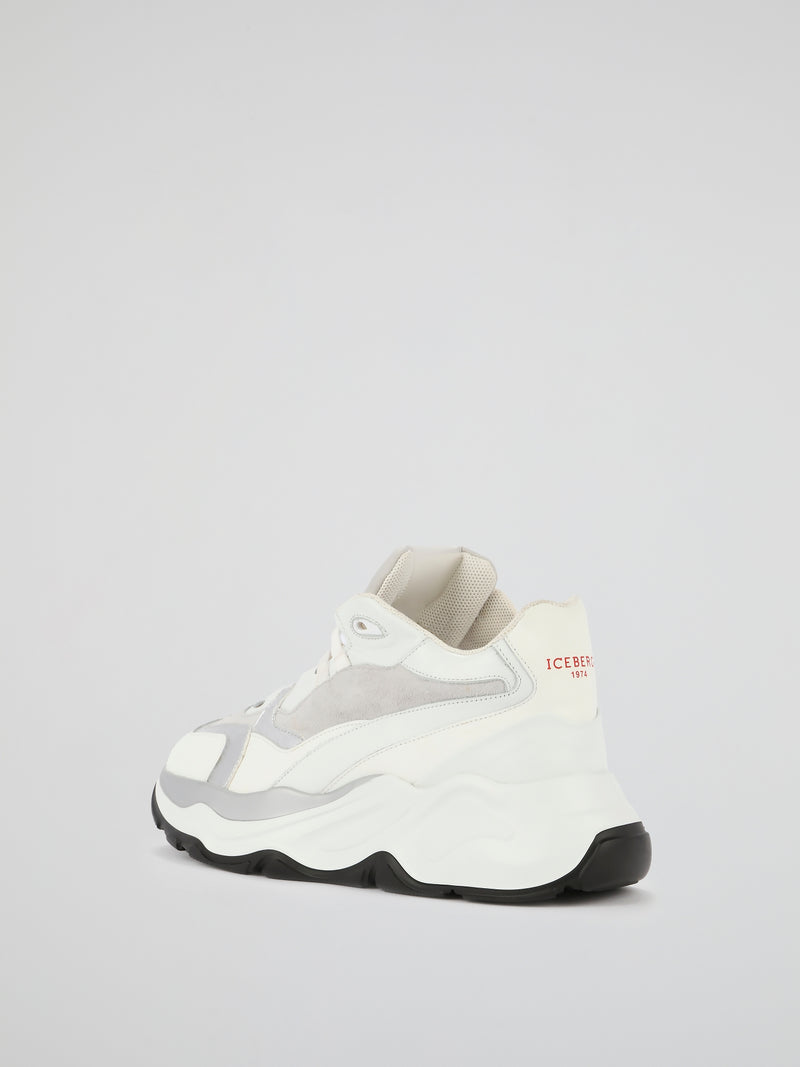 White Suede Panel Active Sneakers