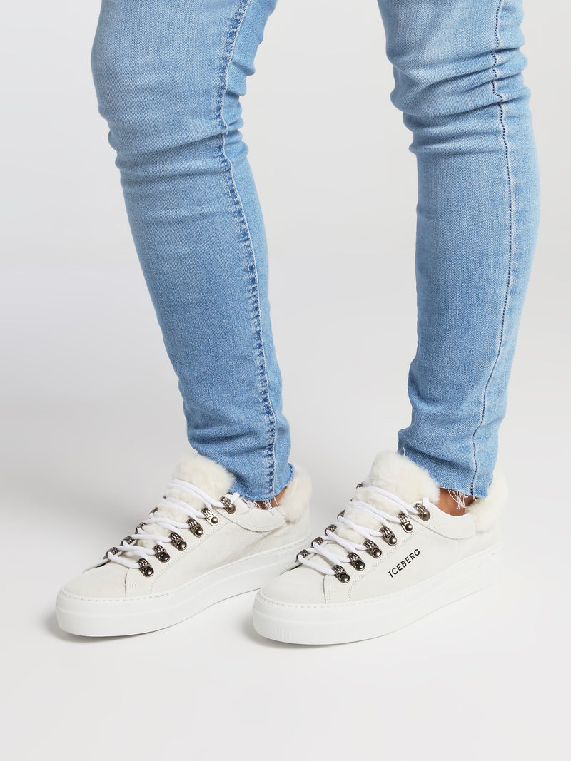 White Fur Trim Suede Trainers
