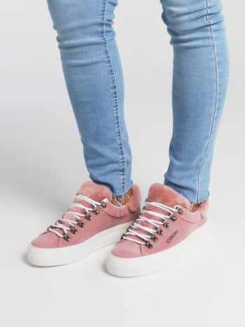 Pink Fur Trim Suede Trainers