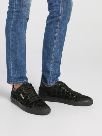 Black Reptile Suede Trainers