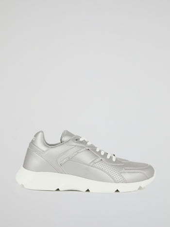 Silver Perforated Leather Sneakers