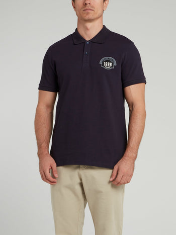 Navy Appliquéd Knitted Polo Shirt