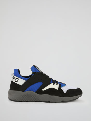 Blue Perforated Panel Active Sneakers