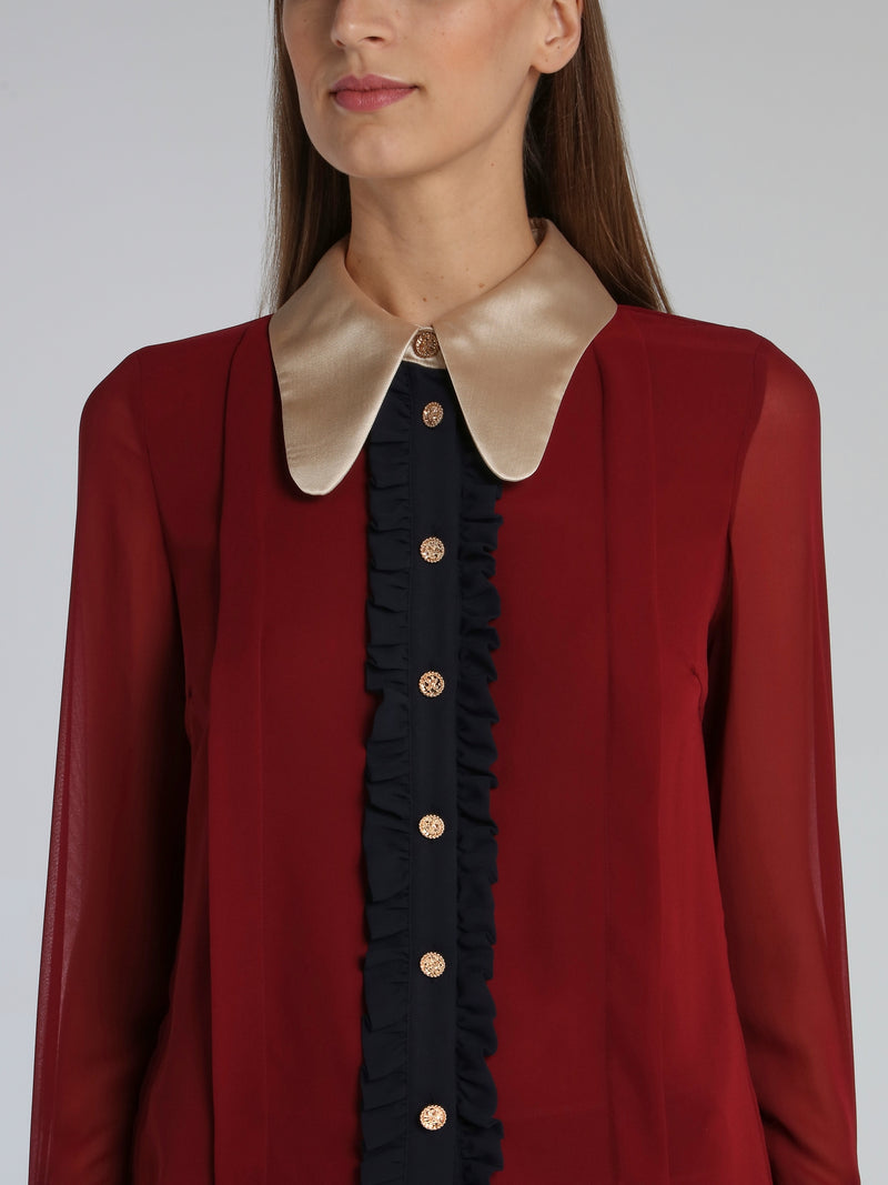 Burgundy Long Sleeve Victorian Blouse