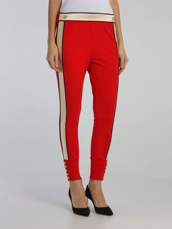 Red Button Detail Waistband Pants