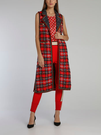 Red Check Tweed Long Coat
