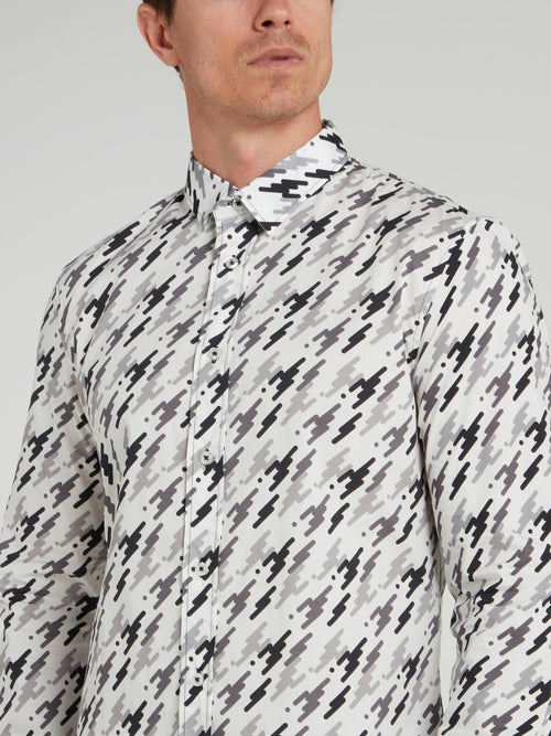 White Pattern Print Shirt