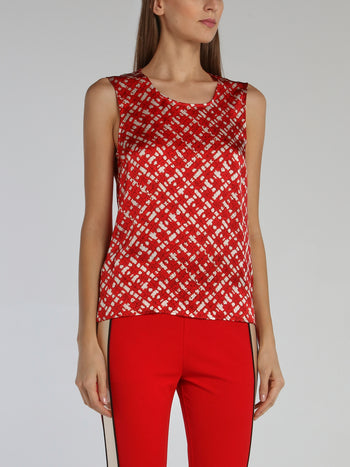 Red Keyhole Back Sleeveless Top