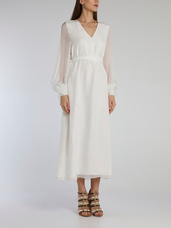 White Bishop Sleeve Studded Midi Dress