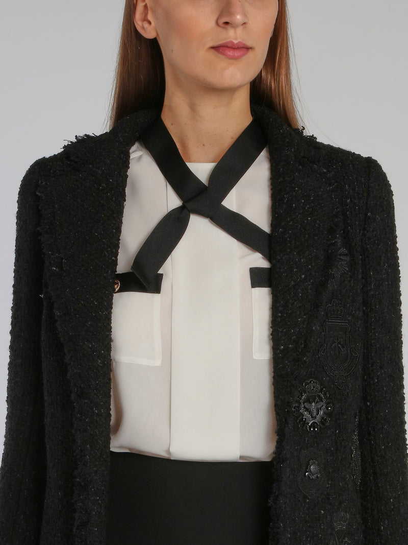 Black Appliquéd Frayed Jacket