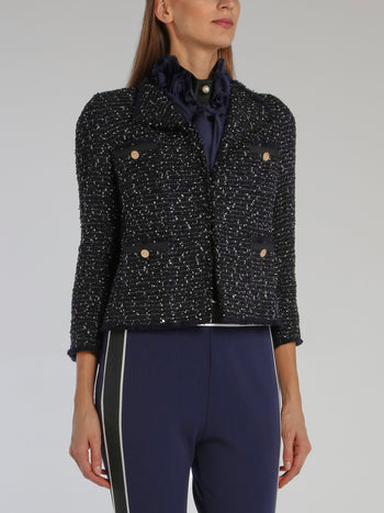 Navy Frayed Tweed Jacket