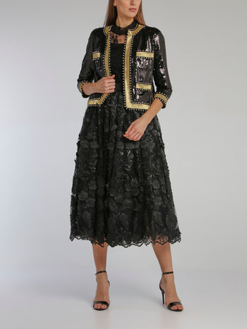Black Paillette Embroidered Blazer