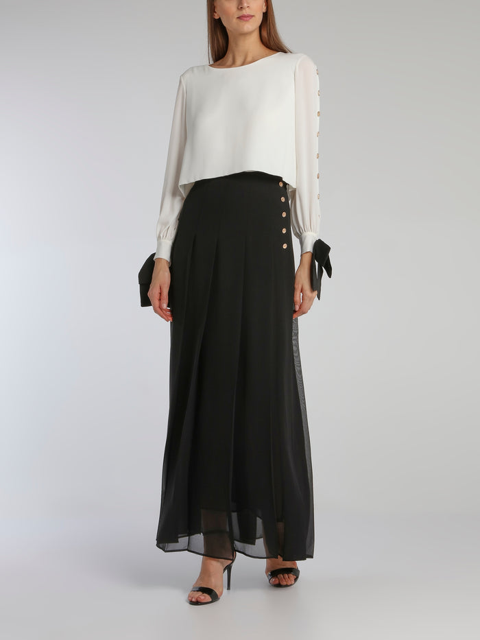 Black Pleated Overlay Maxi Skirt