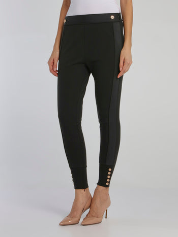 Black Button Detail Waistband Pants